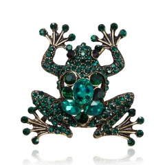 Vintage Crystal Frog Brooches for Women Green Color Animal Brooch Pin Luxury Jewelry Coat Accessories Frog