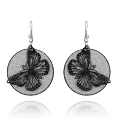 Bohemian Geometric Jewelry Wings / Leaves / Butterfly Hollow Frosted Earrings Butterfly