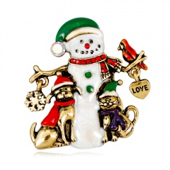 Rinhoo Enamel Alloy Christmas Skiing Snowman Brooches Cartoon Scarf Clothes Pin Jewelry For Women Girls Teens Gift #2
