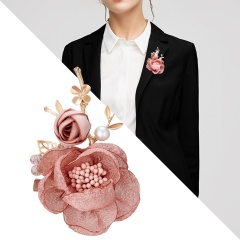 Fashion Korean Cloth Art Fabric Flower Brooch Shirt Collar Vintage Pins and Brooches for Women Dress Shirt Collar Accessories Pink