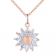 925 Silver Chic Women Sun Flower Zircon Pendant Necklace Chain  Jewelry Gifts Rose Gold