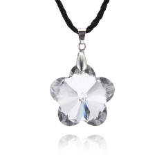 Fashion Peach Blossom Crystal Necklace Jewelry White