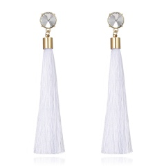 Women Black Long Tassel Crytstal Pearl Earrings Ear Stud Party Chic Jewlery Gift White