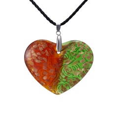 Charm Murano Lampwork Glass Flower Heart Pattern Pendant Necklace Red&Green