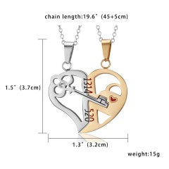 Hot Chic Couple Women Men Heart Love Splice Pendant Necklace Chain Jewelry Gifts Key Gold