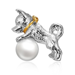 Rinhoo Cute Small Dog Brooches for Women and Kids Enamel Animal Brooch Pin Coat Dress Accessories Bijouterie Broches Gift Silver