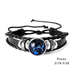 RINHOO 12 Constellations Leather Bracelets For Women Men Zodiac Sign Snap Charms Stones Beads Bangle Jewelry Bracelets & Bangle Bracelet 2