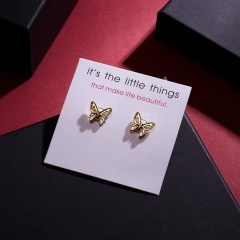 Cute Butterfly Dragonfly Animal Stud Earrings Heart Leaf Crown Charm Charms Earrings with Card butterfly