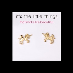 Cute Butterfly Dragonfly Animal Stud Earrings Heart Leaf Crown Charm Charms Earrings with Card horse