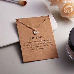 Women Charm Heart Pendant Necklace Gold Clavicle Chain Choker Fashion Jewelry Gift I love you