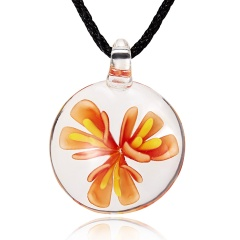 Fashion Flower Inside Round Glass Pendant Necklace Black Rope With Lampwork Glass Men's Necklace Jewelry Orange