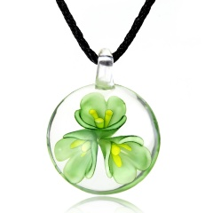 Fashion Flower Inside Round Glass Pendant Necklace Black Rope With Lampwork Glass Men's Necklace Jewelry Green
