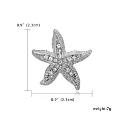 Silver Color Crystal Animal Brooch Rhinestone Alloy Owl Starfish Hedgehog Squid Clothes Pin Brooches For Women Jewelry Gifts Seastar