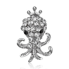 Silver Color Crystal Animal Brooch Rhinestone Alloy Owl Starfish Hedgehog Squid Clothes Pin Brooches For Women Jewelry Gifts Squid