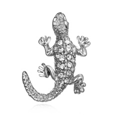Silver Color Crystal Animal Brooch Rhinestone Alloy Owl Starfish Hedgehog Squid Clothes Pin Brooches For Women Jewelry Gifts Lizard