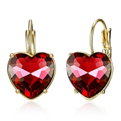 1 Pair Cute Crystal Heart Charms Women Girl Earrings Clip Jewelry red