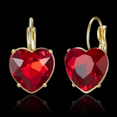 1 Pair Charm Heart Crystal Earrings for Women Girl Jewelry Gift red