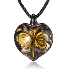 New Lampwork Glass Heart Drop Inside Pendant Necklace Women Jewelry Gifts Yellow