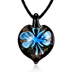 New Lampwork Glass Heart Drop Inside Pendant Necklace Women Jewelry Gifts Blue