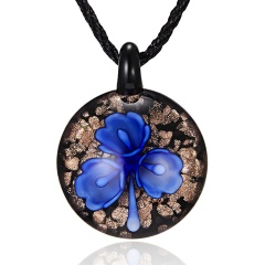 Round Gold Foil Heart Flower Lampwork Glass Pendant Necklace Women Jewelry Dark Blue