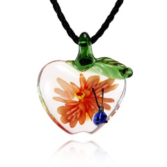 Fashion Women Handmade Lampwork Murano Glass Pendant Necklace Orange