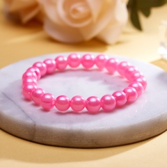 Rinhoo 1PC Trendy Popular Colorful Plastic Simulated-pearl Beads Bracelet For Women's Fashion Jewelry Gift Pink