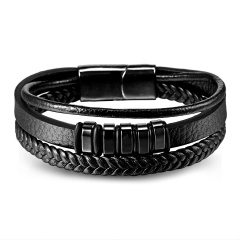 RINHOO Genuine Leather Stainless Steel Bracelet Charms Punk Jewelry Bracelet For Men Holiday Male Exquisite Jewelry Gift Triple layer 2