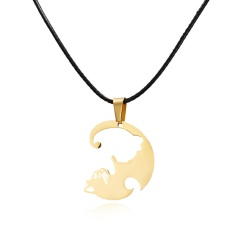 Fashion Cut Stainless Steel Cat Pendant Necklace Leather Chain Jewelry Gold