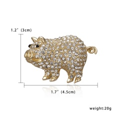 Gold Crystal Imitation Pearl Pig Brooch for Women Jewelry Rhinestone Animal Brooches Pin Collar Corsage Pet Badges Gift Pig