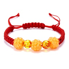 Rinhoo 1PC Handmade Colorful Crystal Beads Warp Rope Chain Bracelet For Women Female Exquisite Jewelry Gift Orange