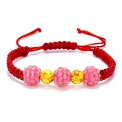 Rinhoo 1PC Handmade Colorful Crystal Beads Warp Rope Chain Bracelet For Women Female Exquisite Jewelry Gift Pink