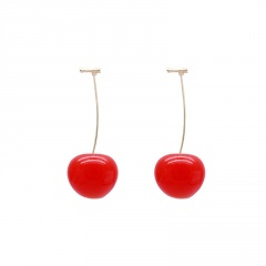 2020 Fashion Cute Red Cherries Fruit Earrings Japan Chic Cherry Dry Flower Long Dangle Drop Earring Party Jewelry Gifts Red Cherry-1