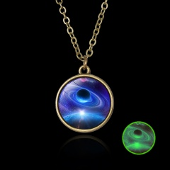 Luminous Galaxy Nebula Pyramid Glow in the Dark Glass Pendant Necklace Retro Hot Blue Nebula