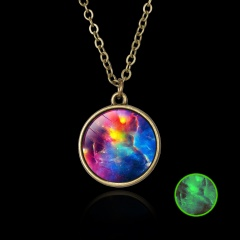 Luminous Galaxy Nebula Pyramid Glow in the Dark Glass Pendant Necklace Retro Hot Red Nebula
