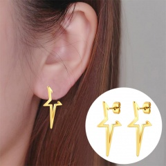 Fashion Stainless Steel Five-pointed Star Stud Earrings Unisex Jewelry gold