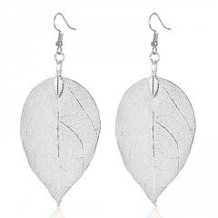 Fashion Bohemian Long Earrings Unique Natural Real Leaf Big Earrings For Women Jewelry Gift silver