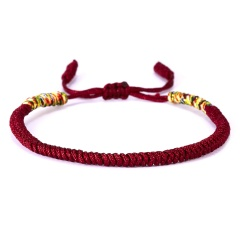 RINHOO Vintage Tibetan Buddhist Love Lucky Charm Tibetan Bracelets & Bangles For Women Men Handmade Knots Rope Budda Bracelet Dark Red