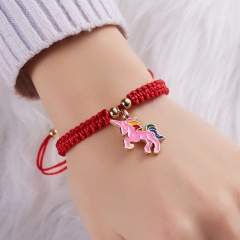 Lucky Red String Thread Horse Bracelets Pink Blue White Horse Charm Women Handmade Girls Friendship Jewelry Gift with Card ROSE RED HORSE