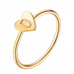 Fashion 26 Letters Size 8 Heart A-Z Rings Women Men Friendship Finger Name Ring Jewelry O