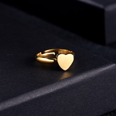 7 Fashion Gold/Silver/Rose gold Personalized Custom Stainless Steel Adjustable Rings Heart Gift Gold