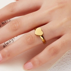 SIZE 7 Adjustable Gold Personalized Custom Stainless Steel 26 Letters A-Z Adjustable Rings Heart Gift A