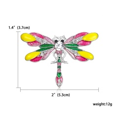 Fashion Handmade Hollow Butterfly Dragonfly Animal Brooches Rhinestone Colorful Brooch Pins For Women Daily Party Jewelry Gifts dragonfly