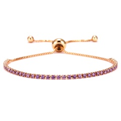 Rinhoo Fashion Round 2mm Cubic Zirconia Tennis Bracelet & Bangles For Women Gifts Luxury Bling Crystal Bracelet Bijoux 9 Colors PURPLE
