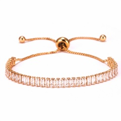 Fashion Women Tennis Bracelets Square Zirconia Link Chain Gold Silver Color 2mm Crystal Bangles Female Trendy Girls Jewelry GOLD