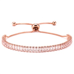 Fashion Women Tennis Bracelets Square Zirconia Link Chain Gold Silver Color 2mm Crystal Bangles Female Trendy Girls Jewelry ROSE GOLD