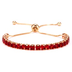Trendy 7 Colors Cubic Zirconia Tennis Bracelet & Bangles For Women Gifts New Luxury Square Crystal Link Chain Bracelet Bijoux RED