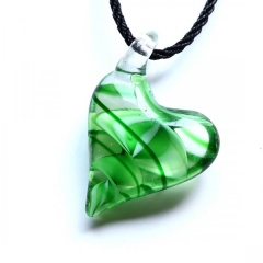 Trendy  Geometric Stripe Heart Murano Glass Flower Pendant Necklace Women Jewelry Gift Green
