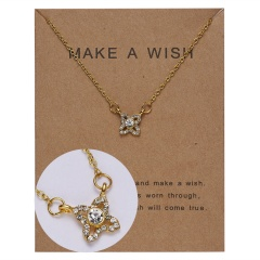 Paper card diamond long strip star pendant clavicle chain necklace NC18Y0493-G10