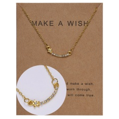 Paper card diamond long strip star pendant clavicle chain necklace NC18Y0493-G15