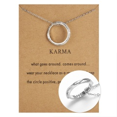 Women Stainless Steel Engraved Words Family Ring Pendant Necklace Jewelry NEW suppose you love me